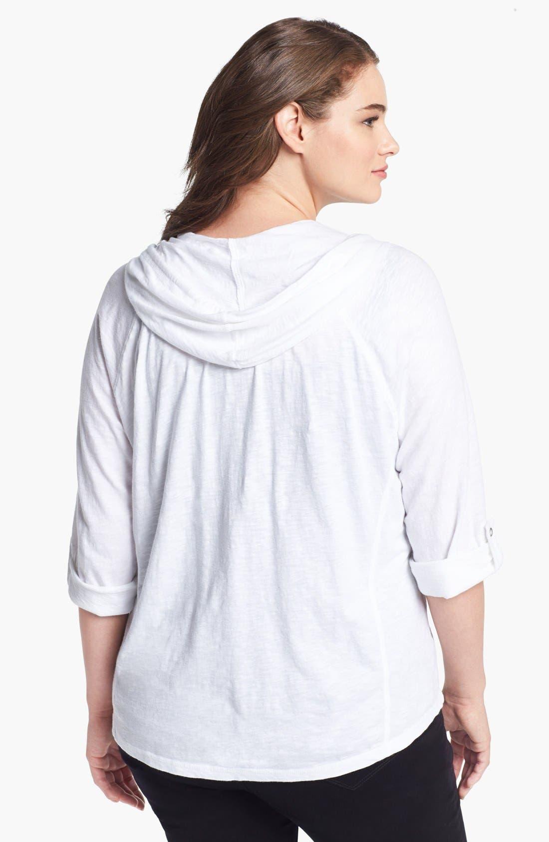 Alternate Image 2  - Sejour Roll Sleeve Hoodie (Plus Size)