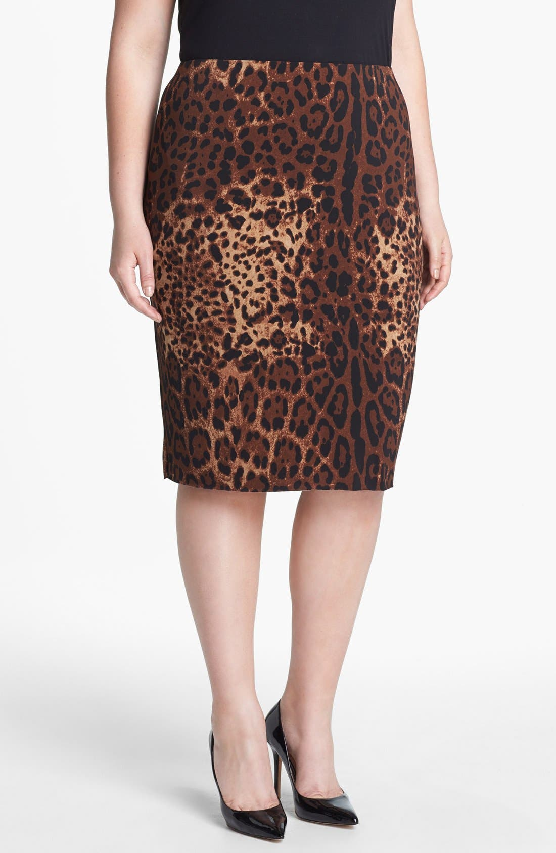 Alternate Image 1 Selected - Vince Camuto Print Pencil Skirt (Plus Size)
