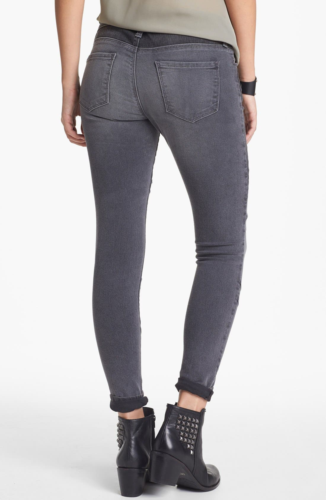 Alternate Image 2  - STS Blue Moto Skinny Jeans (Grey) (Juniors)