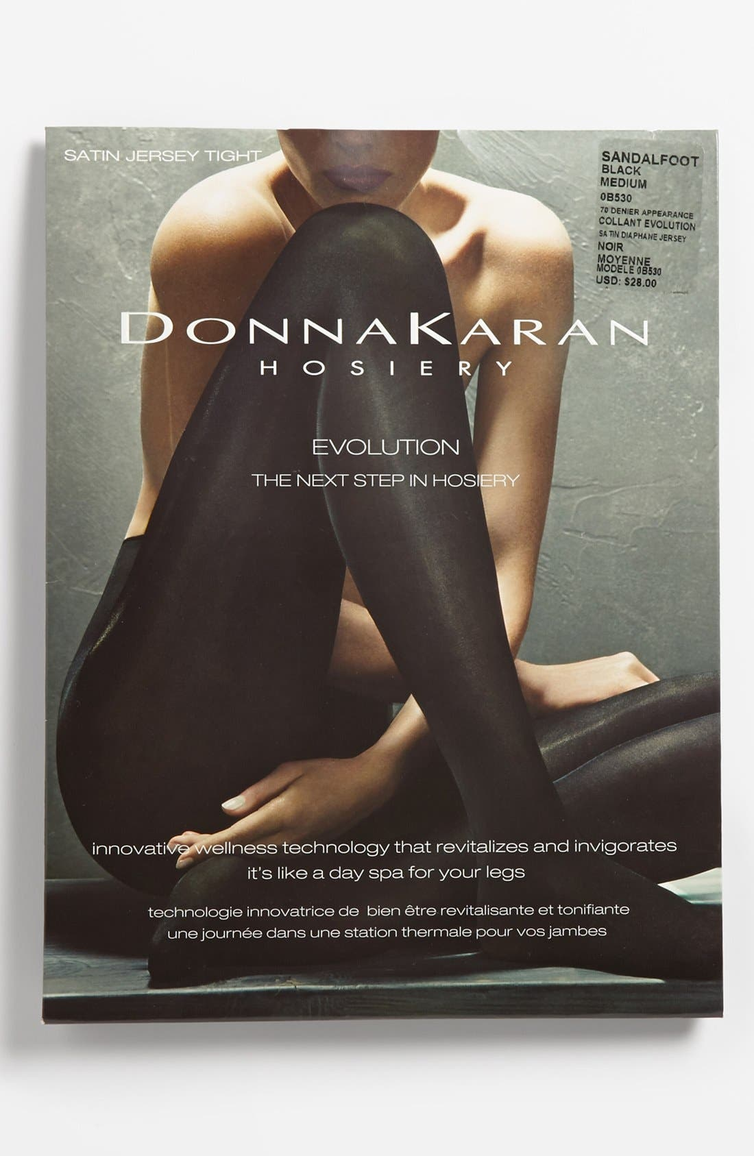 Donna Karan 'Evolution' Satin Jersey Tights,                             Alternate thumbnail 3, color,                             Black