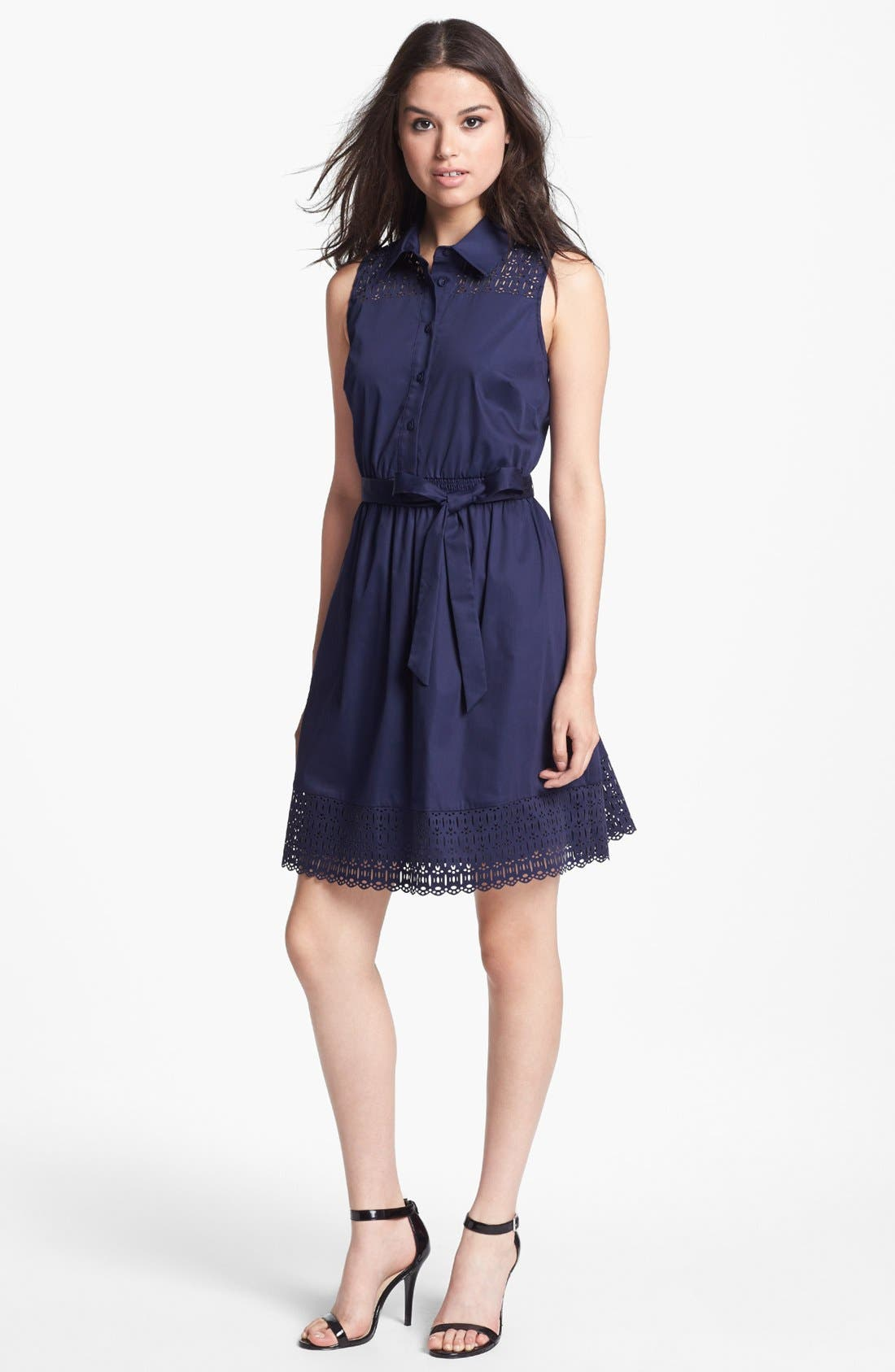 Main Image - Laundry by Shelli Segal Sleeveless Laser Cut Shirtdress