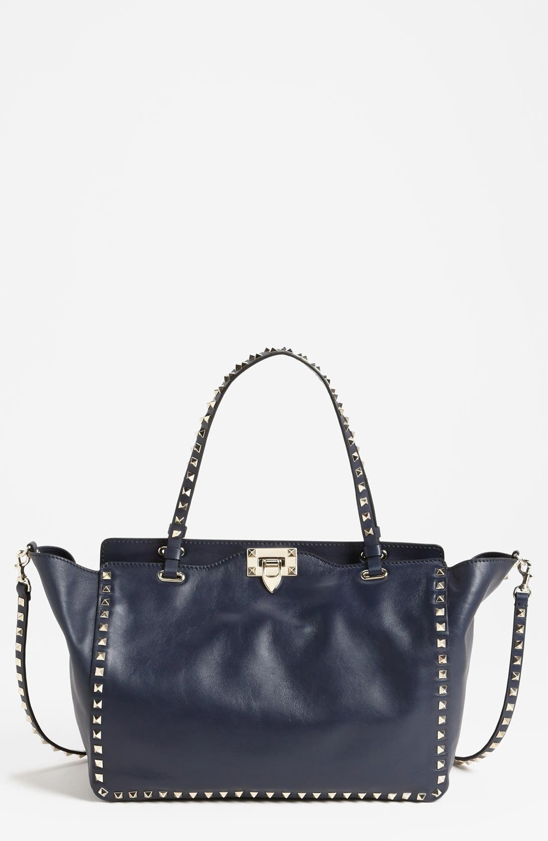 Alternate Image 1 Selected - Valentino 'Rockstud - Medium' Double Handle Leather Tote
