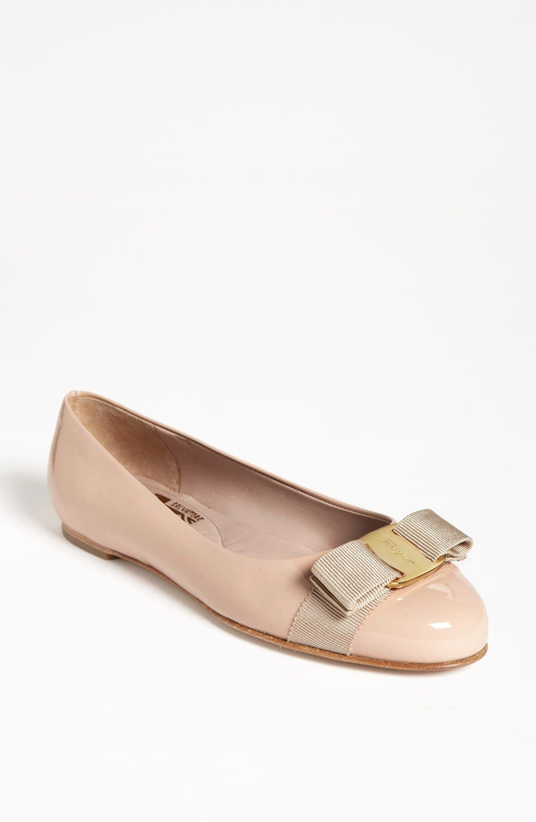 Salvatore Ferragamo 'Varina' Leather Flat (Women)