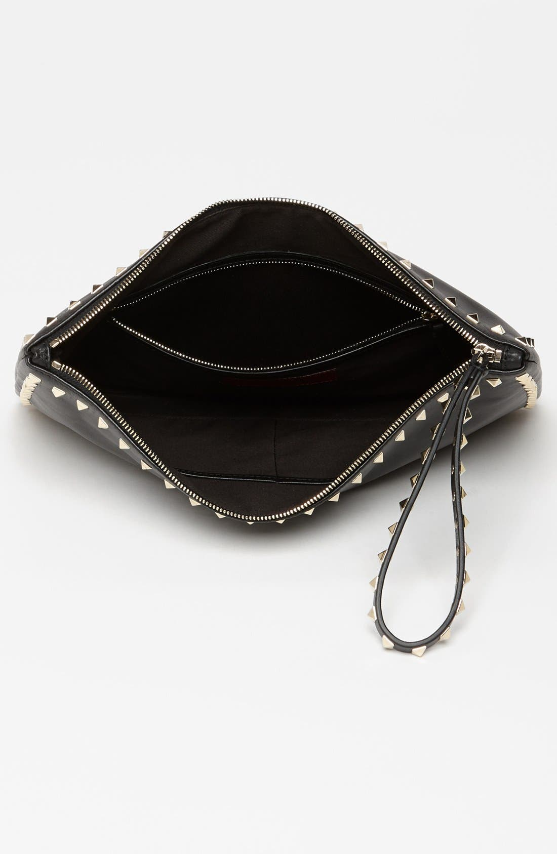 Alternate Image 3  - Valentino 'Rockstud - Flat' Leather Clutch