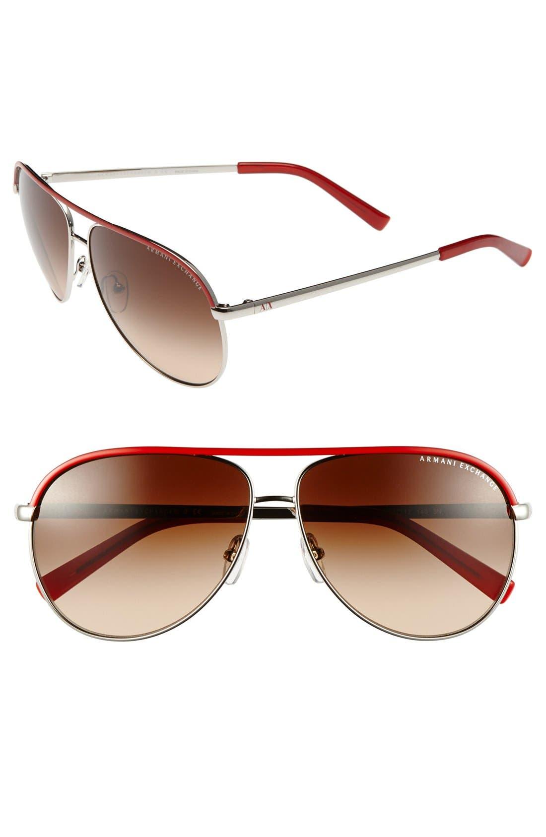 Main Image - AX Armani Exchange 61mm Aviator Sunglasses
