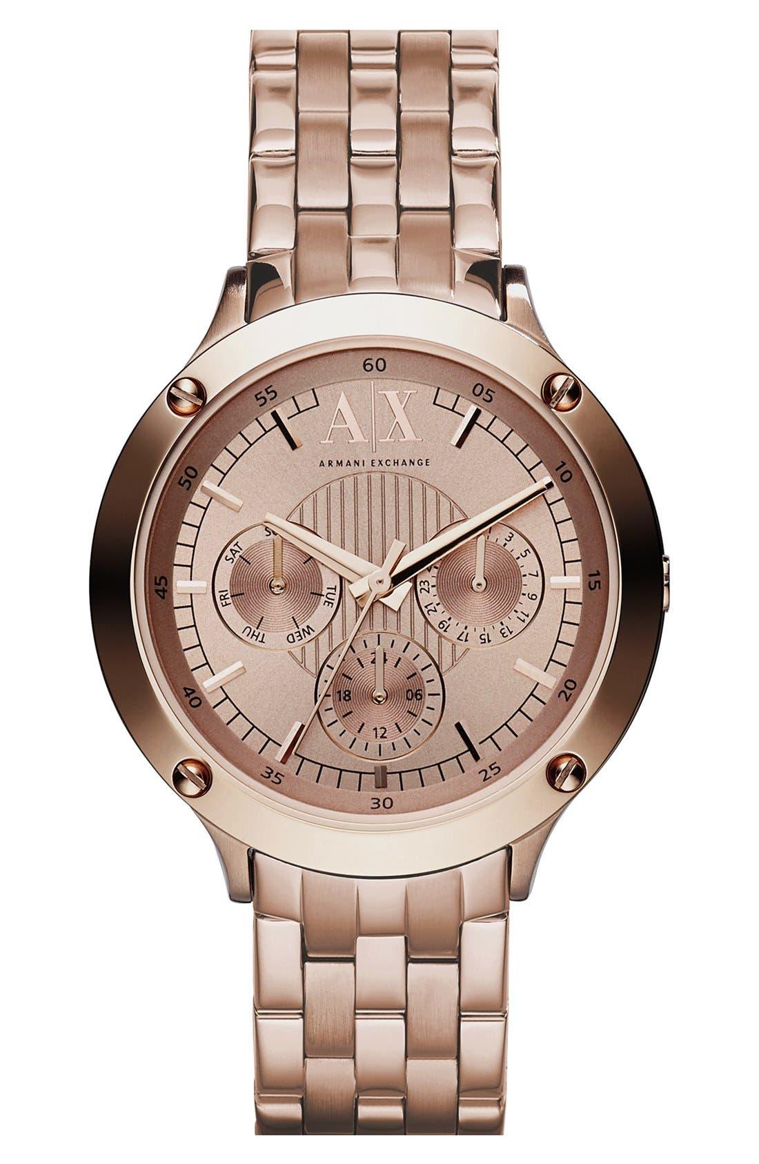 Main Image - AX Armani Exchange Round Multifunction Bracelet Watch, 40mm
