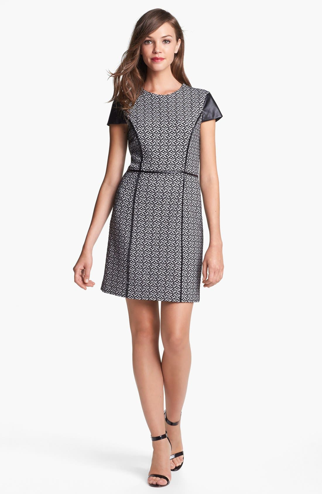 Alternate Image 1 Selected - Cynthia Steffe Faux Leather Trim Jacquard Sheath Dress (Online Only)