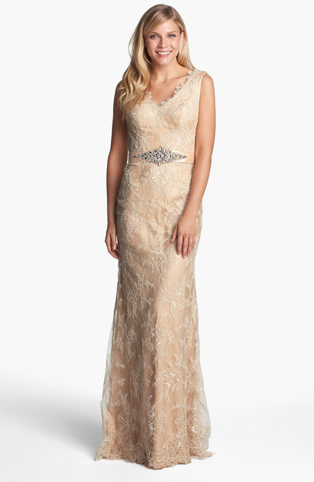 Main Image - La Femme Embellished Sleeveless Lace Gown