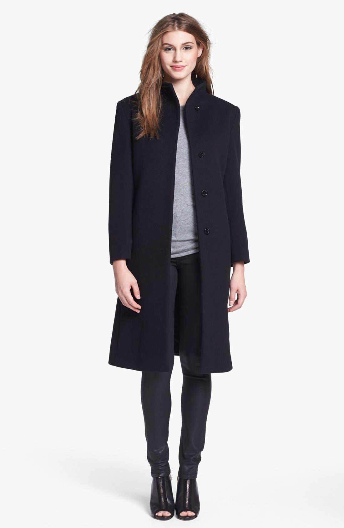 Alternate Image 1 Selected - Cinzia Rocca Due Funnel Neck Wool & Cashmere Blend Walking Coat (Petite)