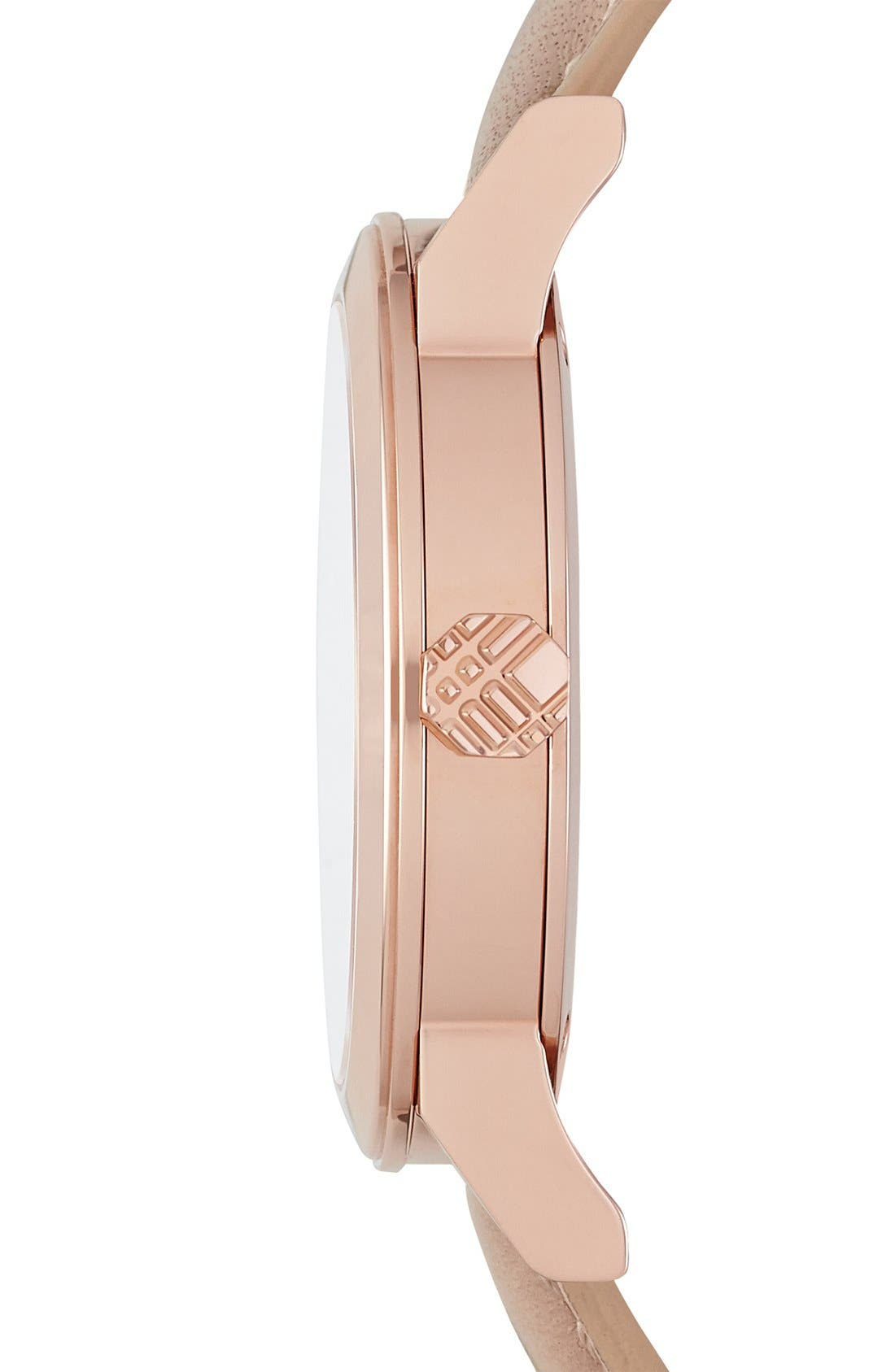 Alternate Image 4  - Burberry Round Diamond Dial Leather Strap Watch, 34mm