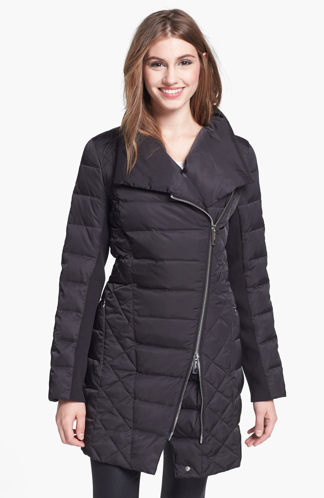 Main Image - Kenneth Cole New York Asymmetrical Down & Feather Coat