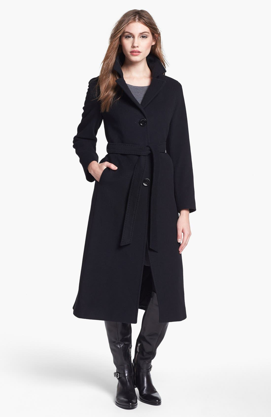 Main Image - Cinzia Rocca Due Belted Long Wool Blend Coat (Petite)