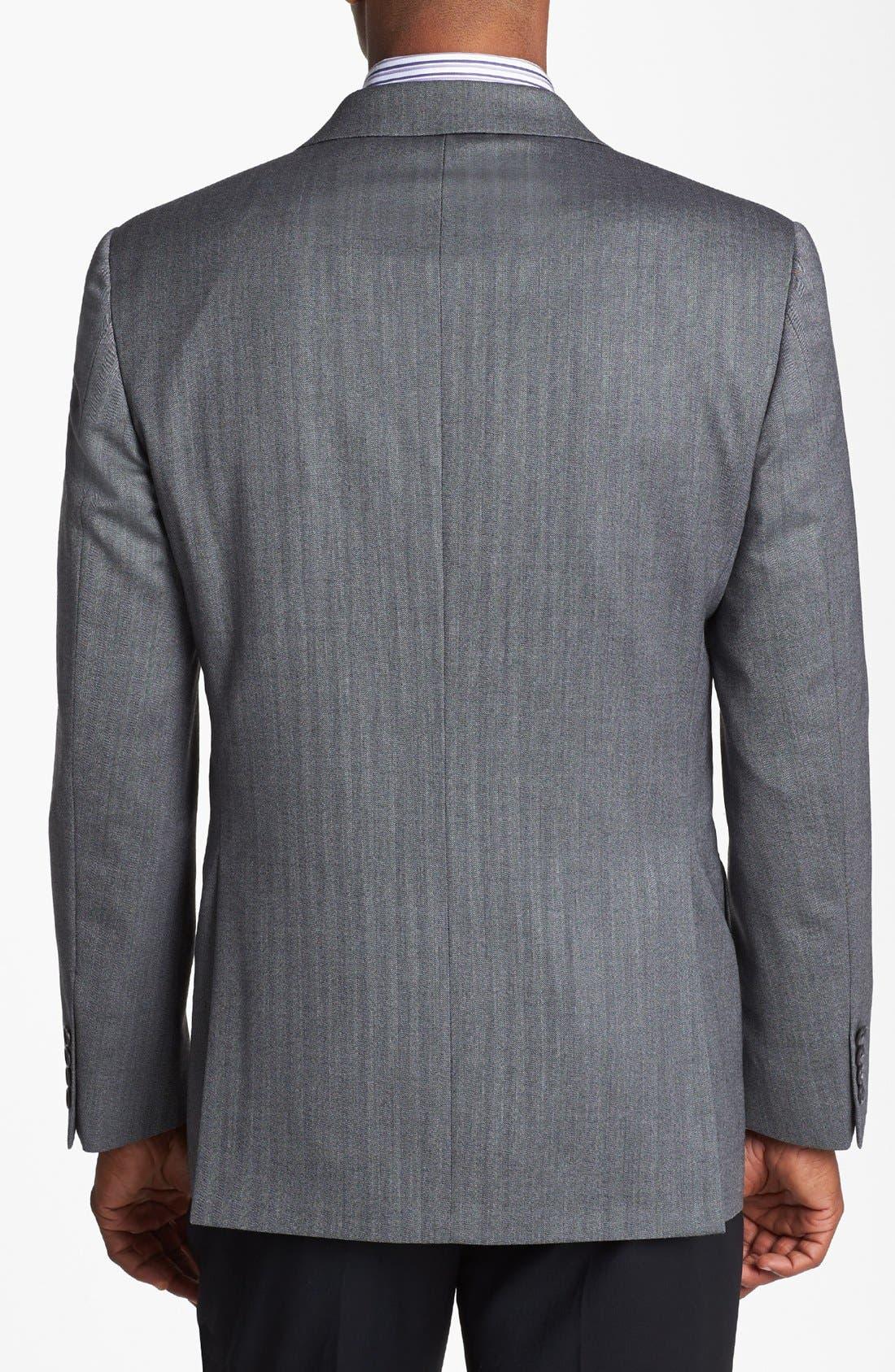 'Profile/Hybrid' Trim Fit Herringbone Sportcoat,                             Alternate thumbnail 3, color,                             Grey Tonal Herringbone