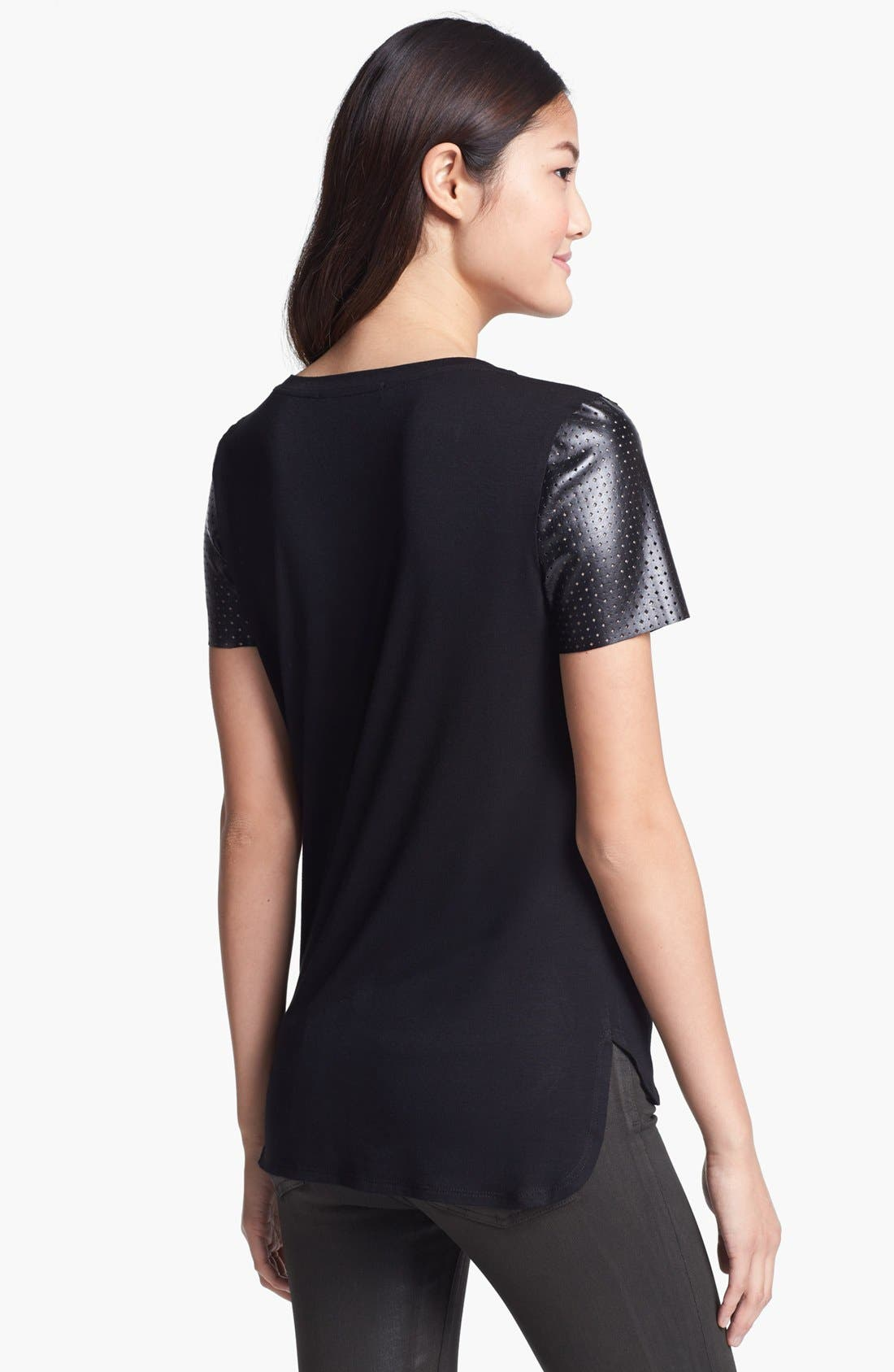 Alternate Image 2  - Everleigh Faux Leather Sleeve Tee (Petite)
