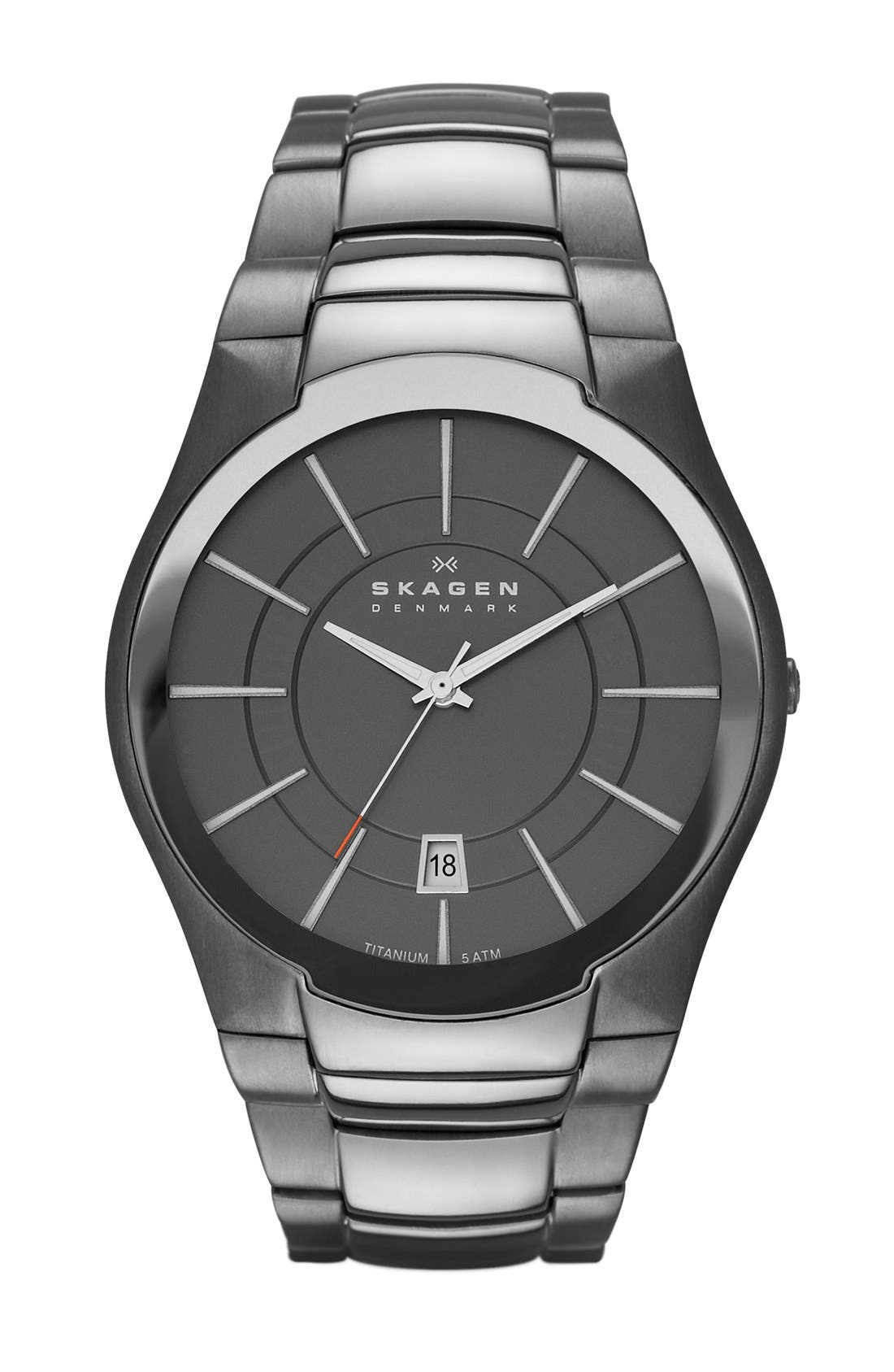Alternate Image 1 Selected - Skagen Titanium Round Link Bracelet Watch, 41mm