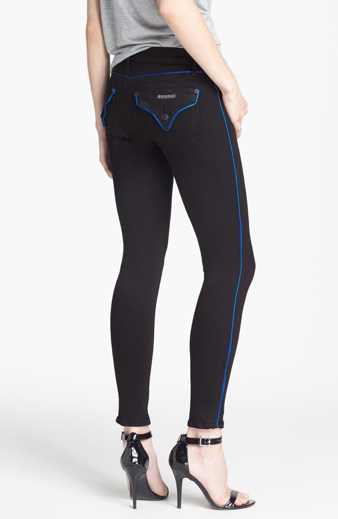 Alternate Image 2  - Hudson Jeans Piped Super Skinny Jeans (Cadet)