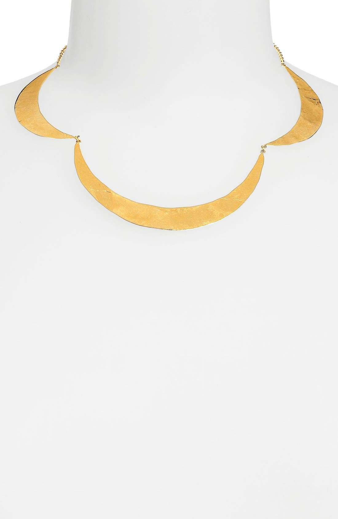 Alternate Image 1 Selected - Argento Vivo Hammered Crescent Collar Necklace