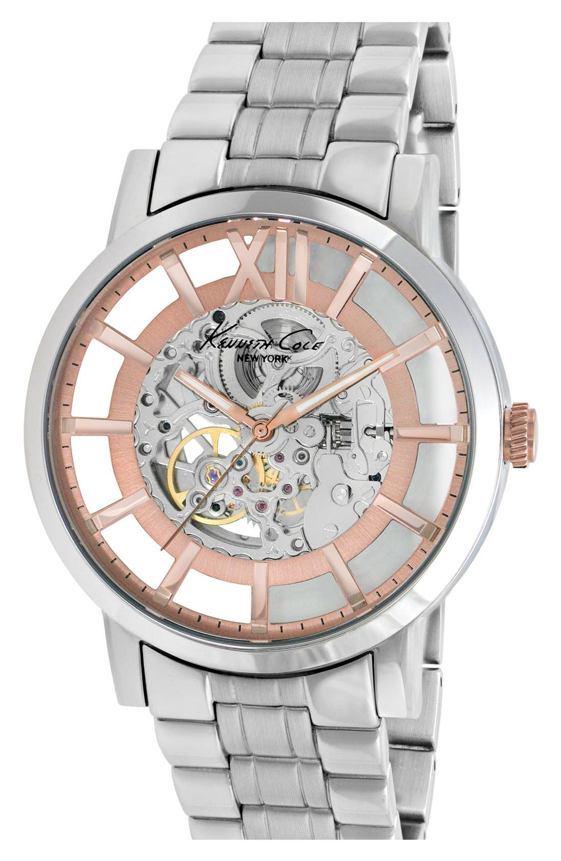Main Image - Kenneth Cole New York Round Automatic Bracelet Watch, 46mm