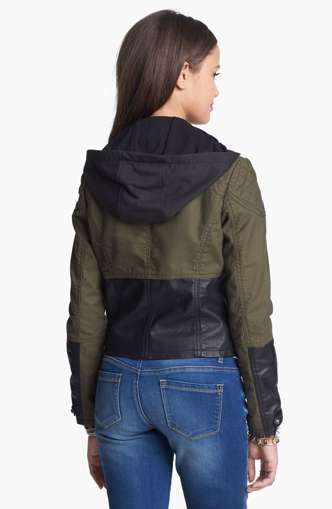 Alternate Image 2  - Collection B Faux Leather Panel Hooded Jacket (Juniors)