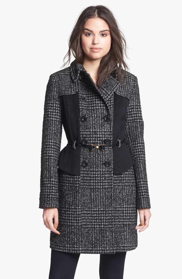 Betsey Johnson Plaid Amp Solid Wool Blend Peplum Coat