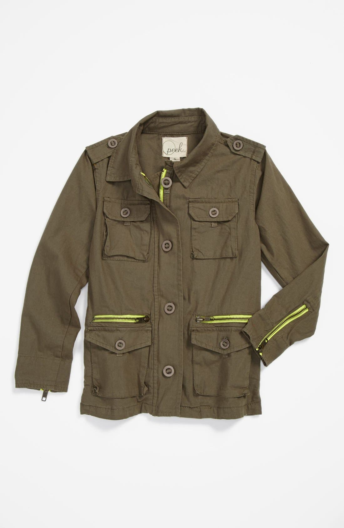 Alternate Image 1 Selected - Peek 'McCabe' Military Jacket (Big Girls)