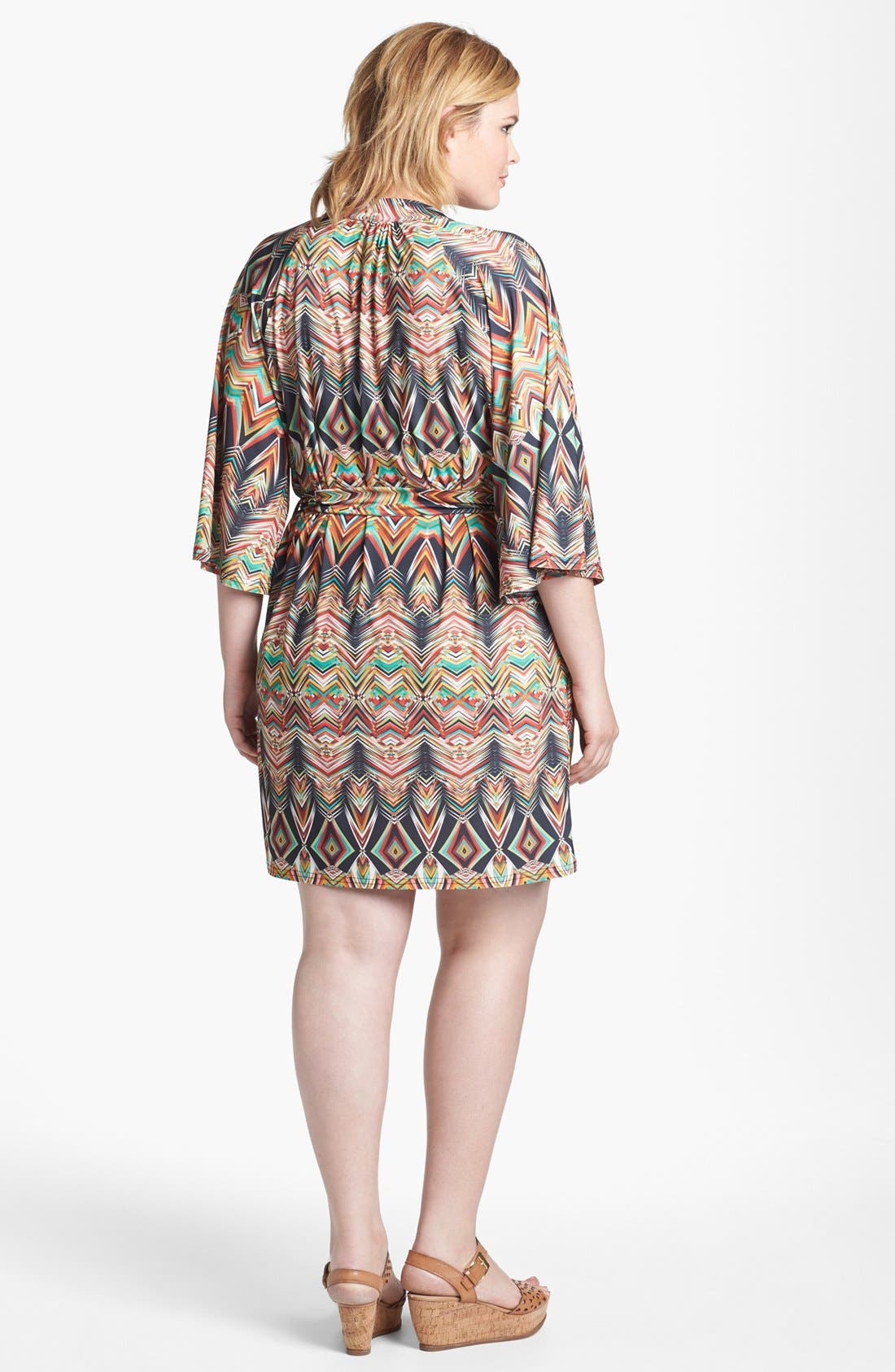 Alternate Image 2  - Viereck Print Belted Tunic Dress (Plus Size)