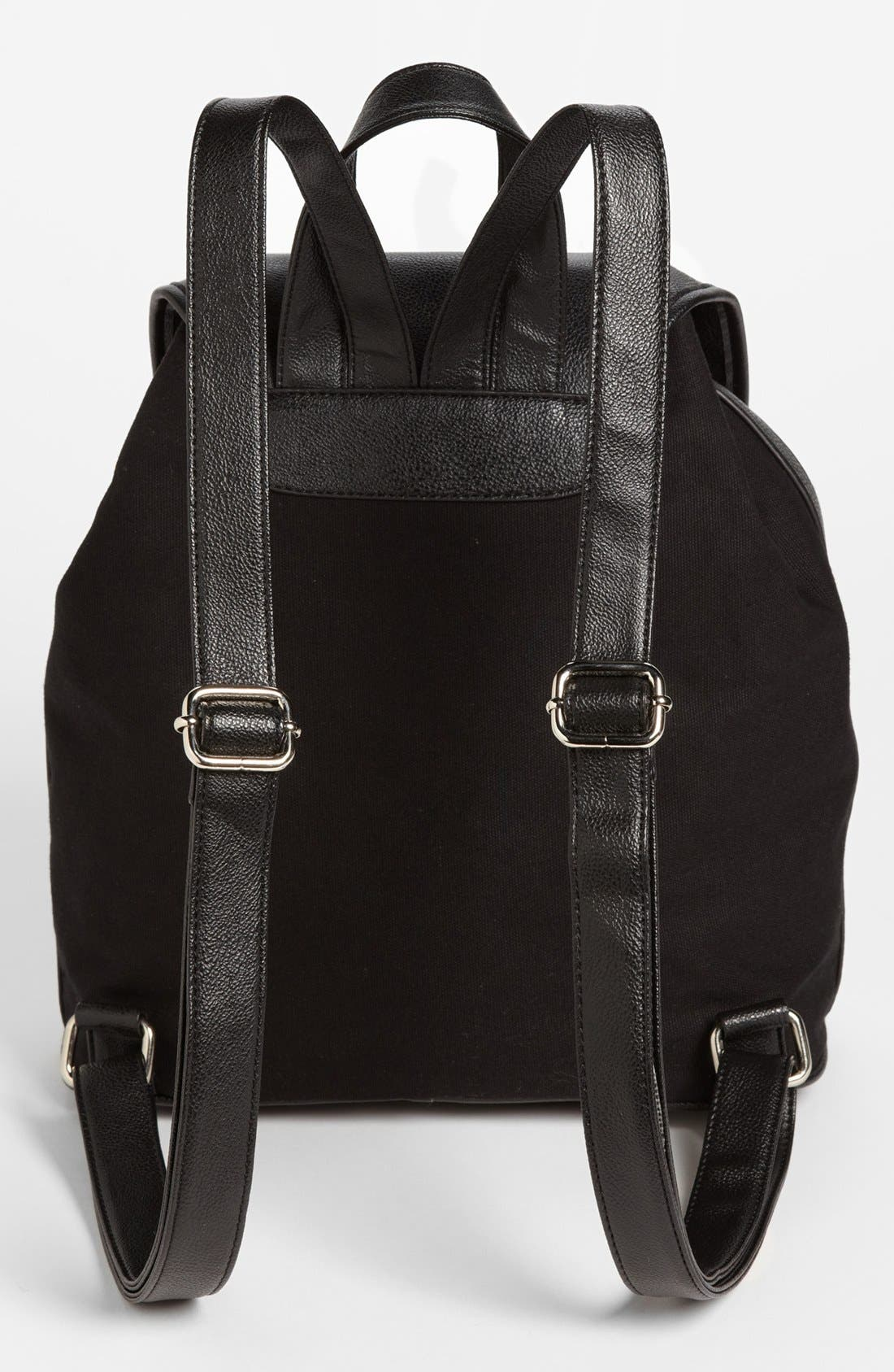 Alternate Image 4  - Collection B Faux Leather & Canvas Backpack (Juniors)