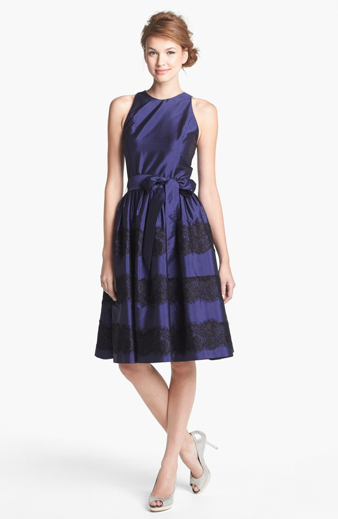Main Image - Isaac Mizrahi New York Lace Detail Taffeta Fit & Flare Dress