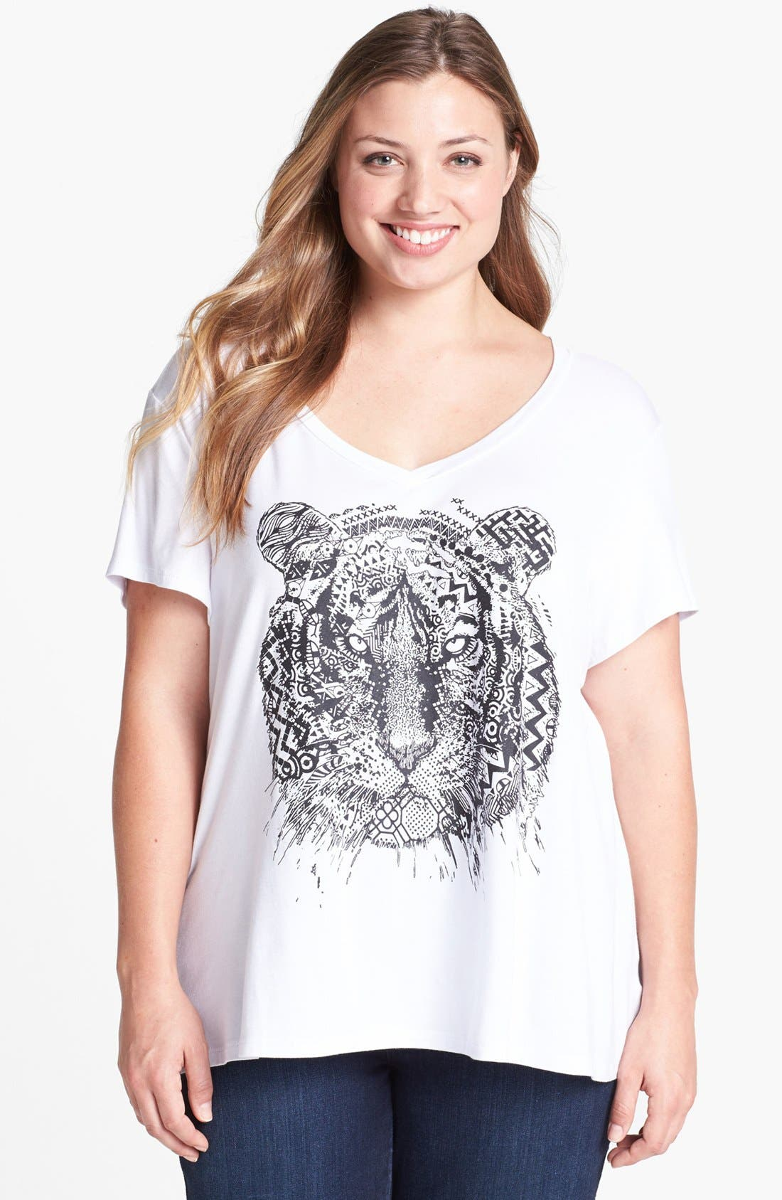 Alternate Image 1 Selected - Bobeau Screenprint V-Neck Tee (Plus Size)