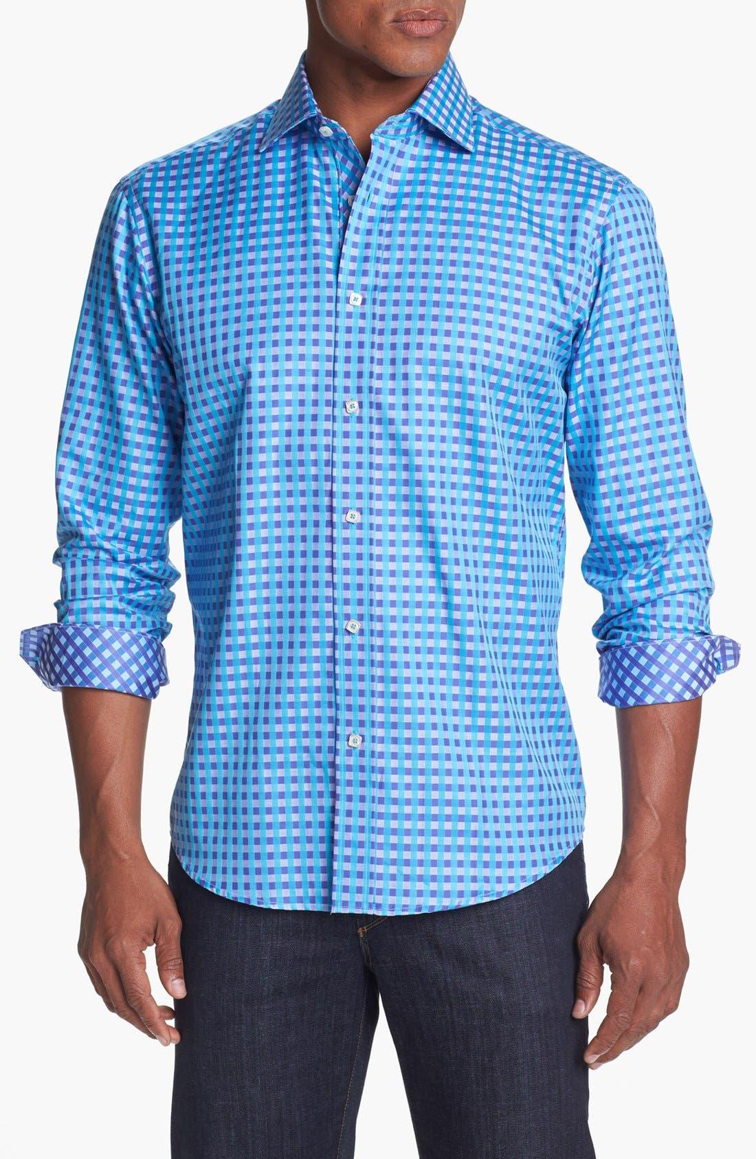 Main Image - Bugatchi Gingham Shaped Fit Cotton Sport Shirt (Tall)