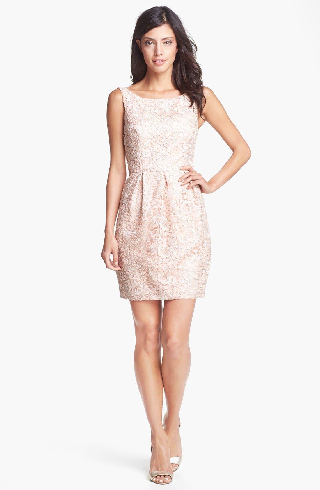 Alternate Image 3  - Aidan Mattox Lace Sheath Dress (Online Only)