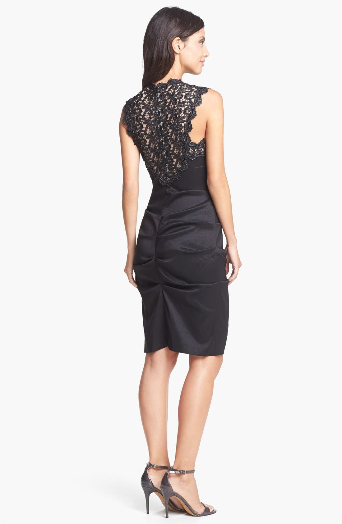 Alternate Image 2  - Xscape Lace Yoke Ruched Taffeta Sheath Dress