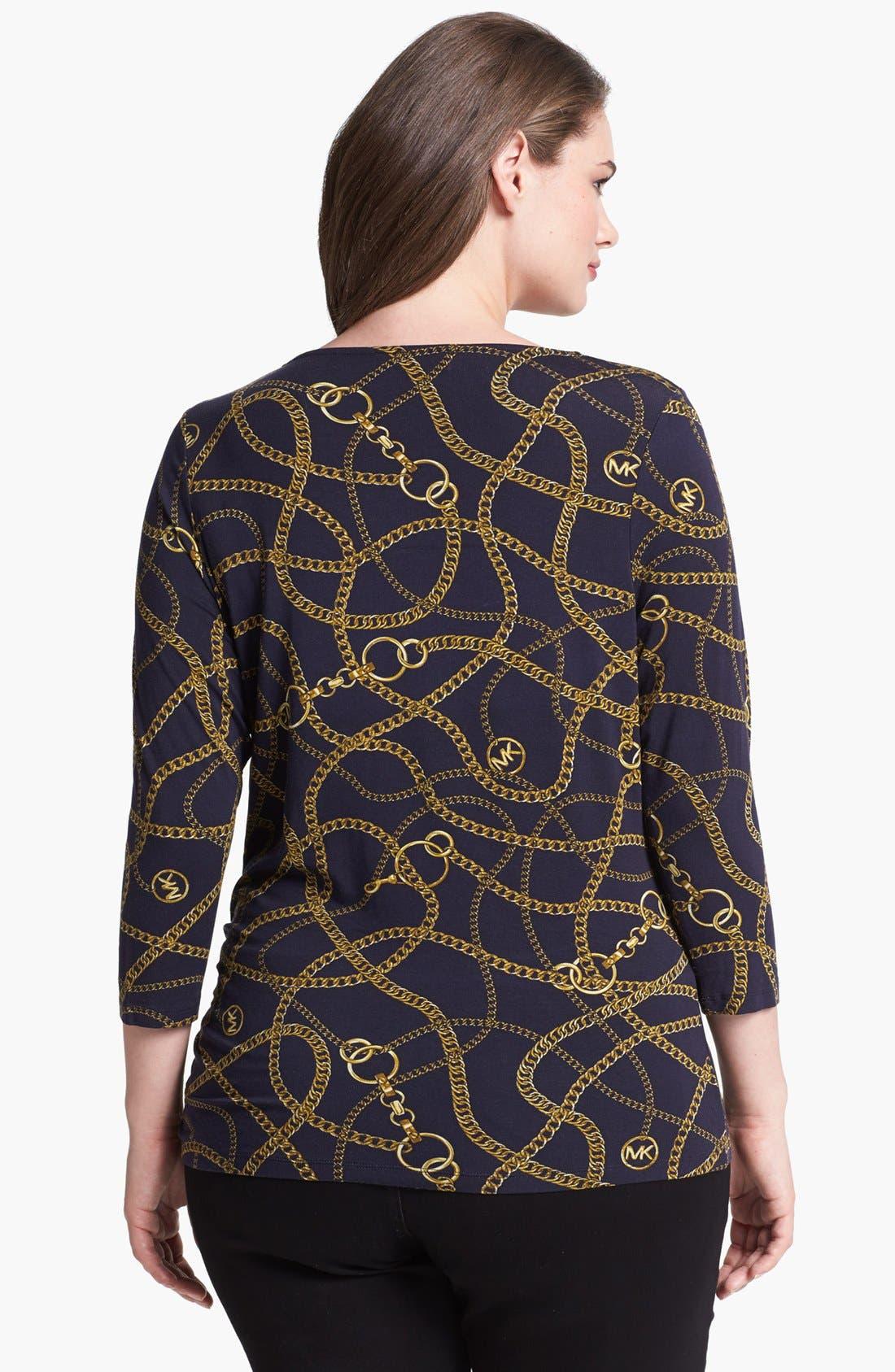 Alternate Image 2  - MICHAEL Michael Kors Studded Cowl Neck Print Top (Plus Size)