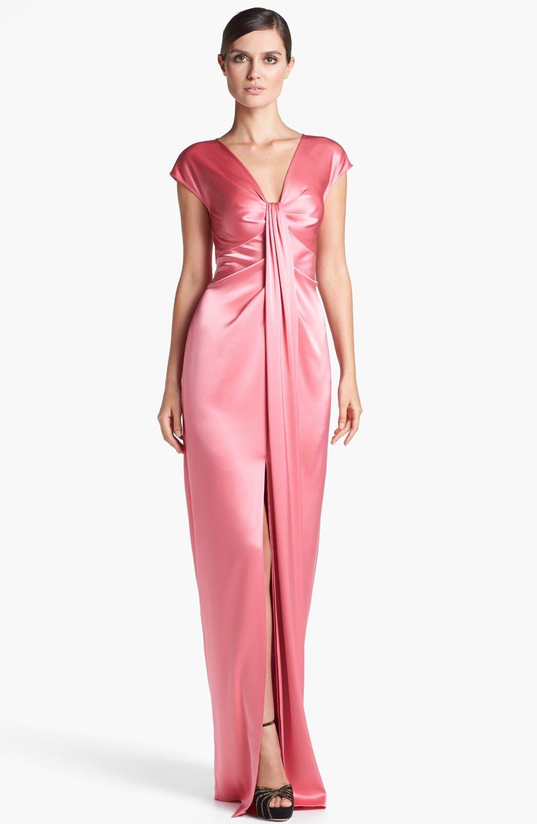 Main Image - St. John Collection Draped Liquid Satin Gown