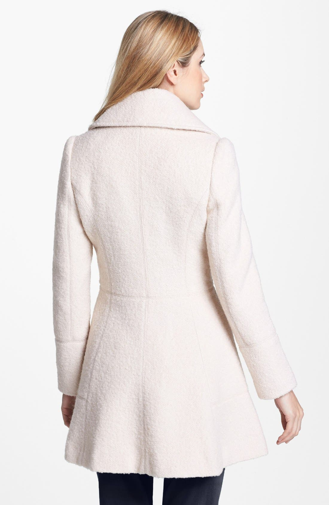 Alternate Image 2  - GUESS Double Breasted Bouclé Coat (Regular & Petite)
