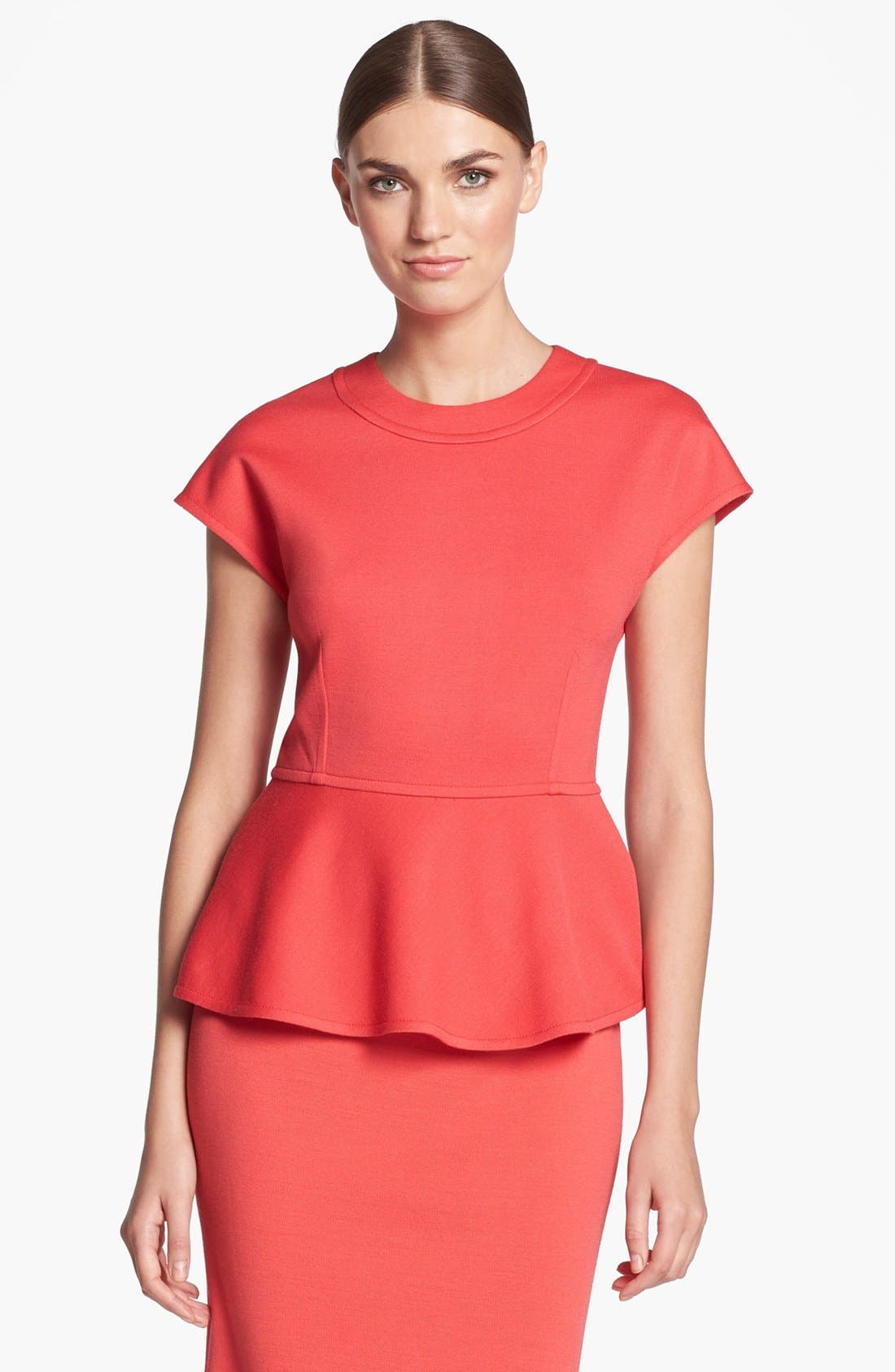Alternate Image 1 Selected - St. John Collection Cap Sleeve Milano Knit Peplum Top