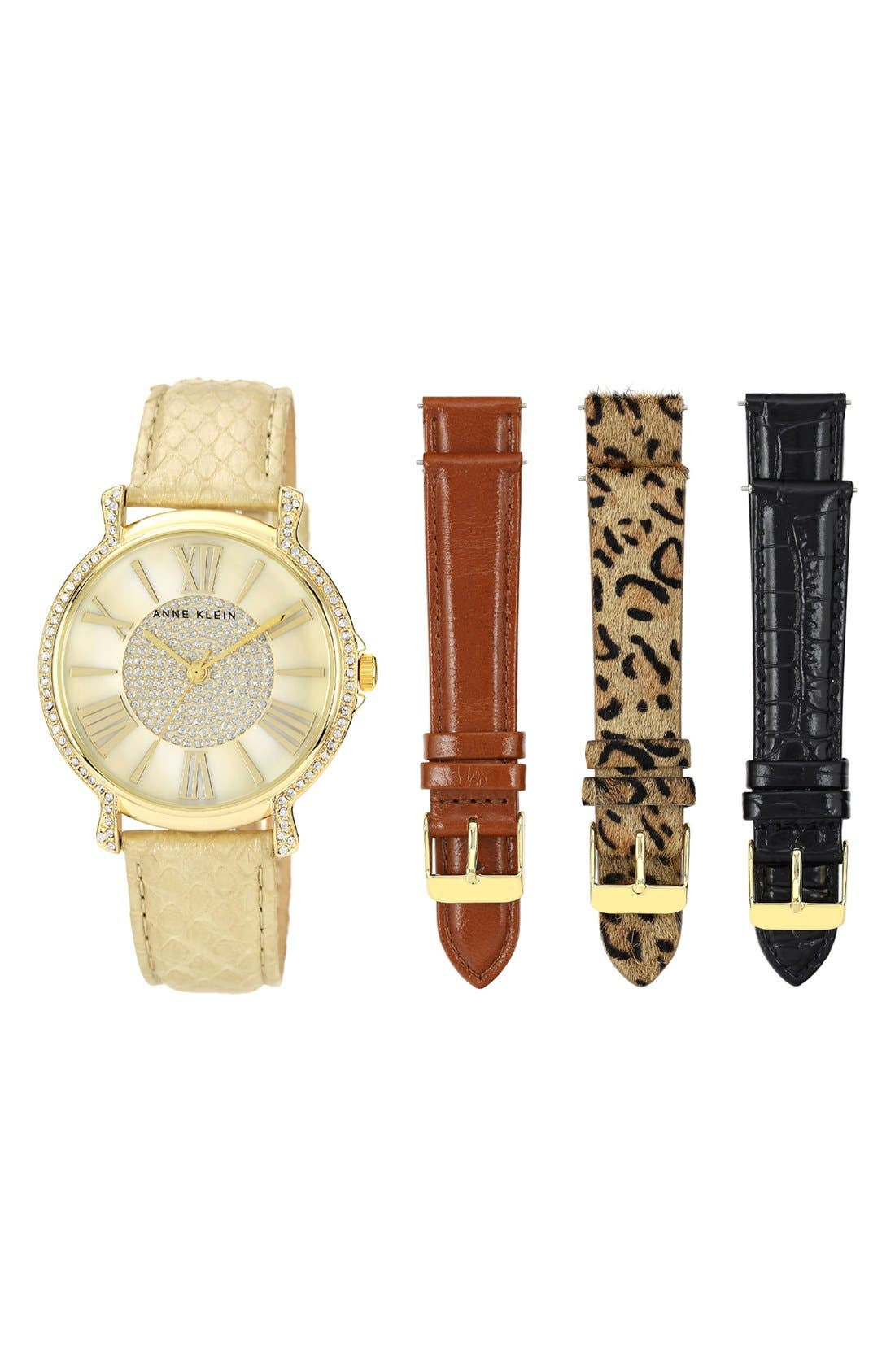 Alternate Image 1 Selected - Anne Klein Round Watch & Leather Strap Boxed Set