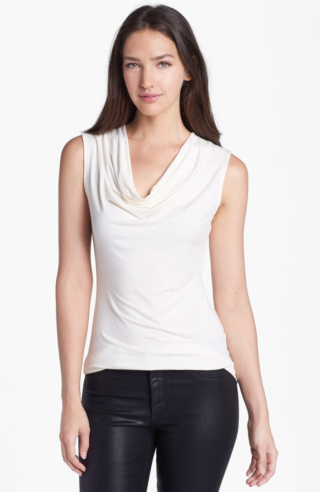 Main Image - Halogen® Draped Stretch Modal Top (Regular & Petite)