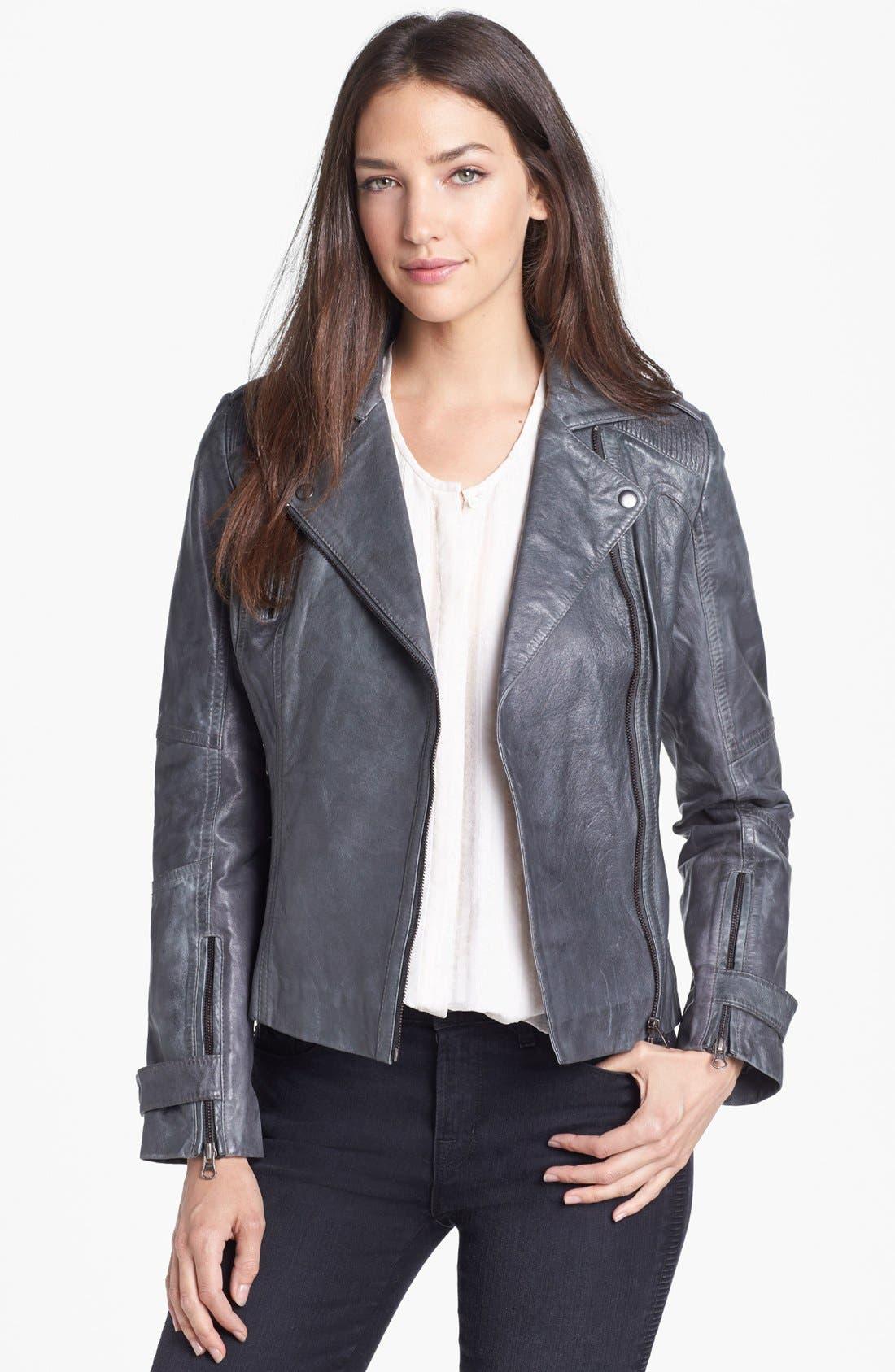 Asymmetrical Leather Moto Jacket,                         Main,                         color, Grey
