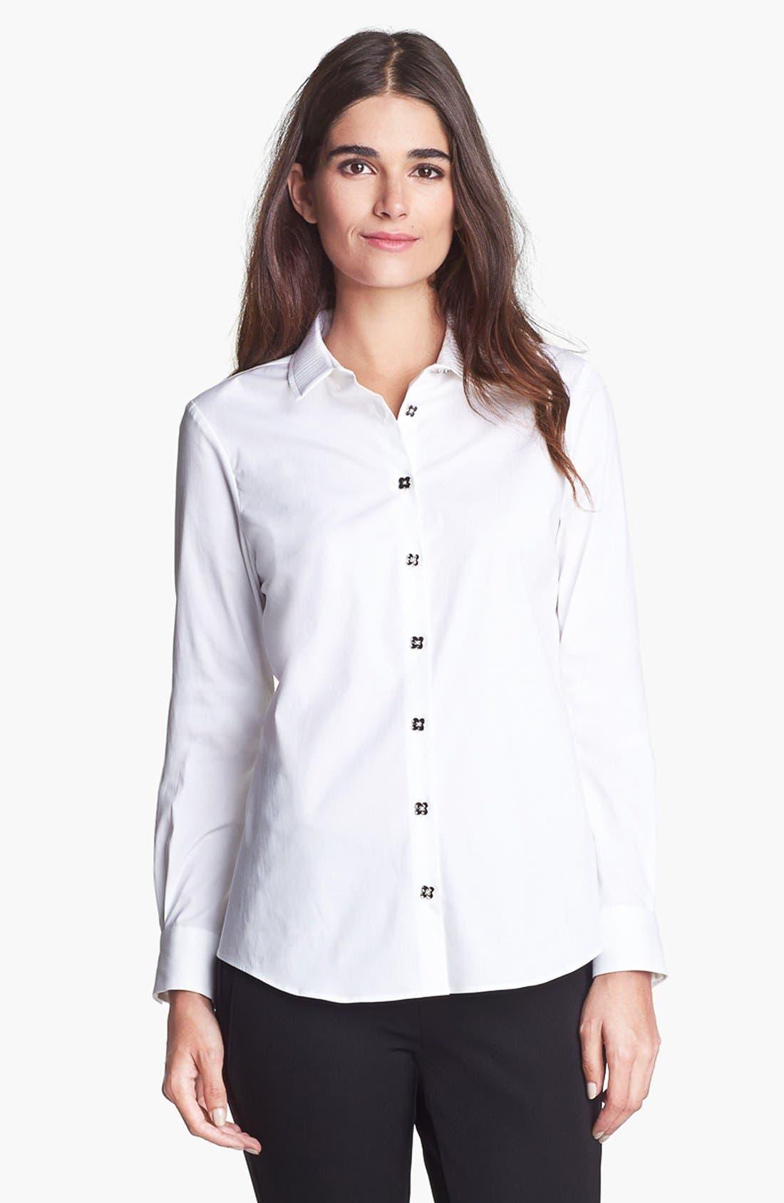 Alternate Image 1 Selected - Pink Tartan Pleated Collar Shirt