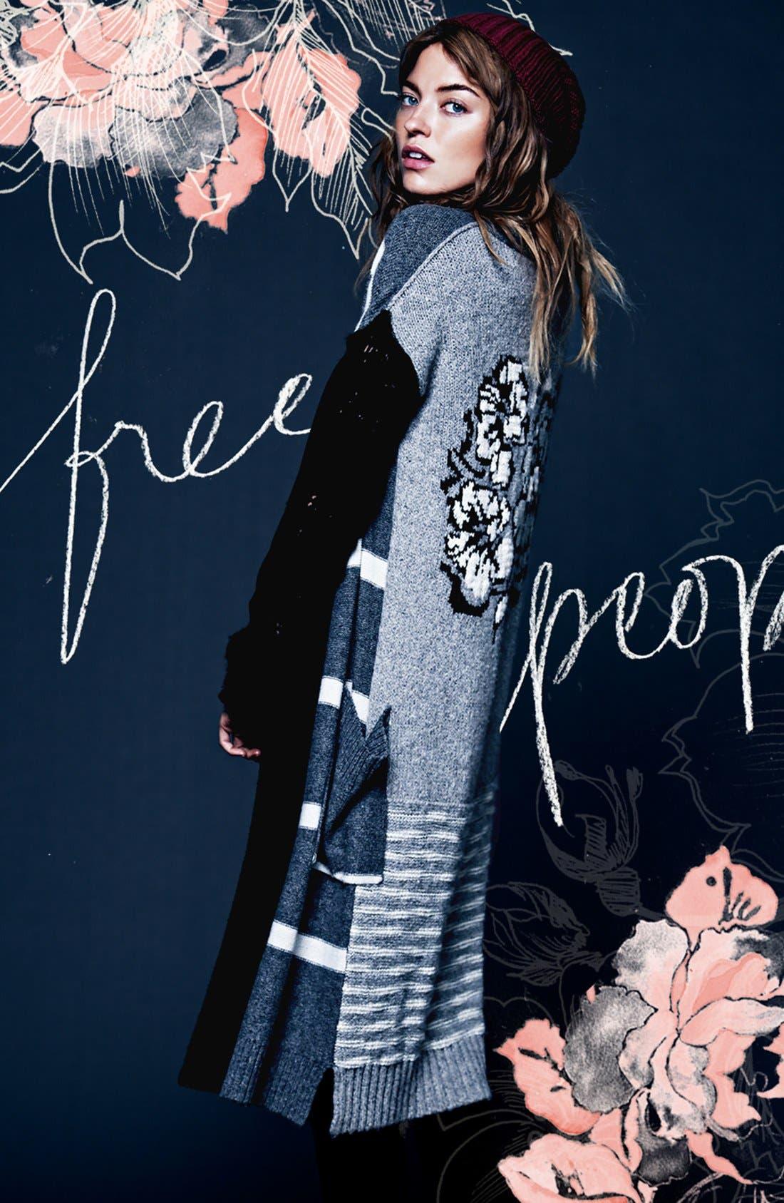 Alternate Image 4  - Free People Floral Pattern Detail Cardigan