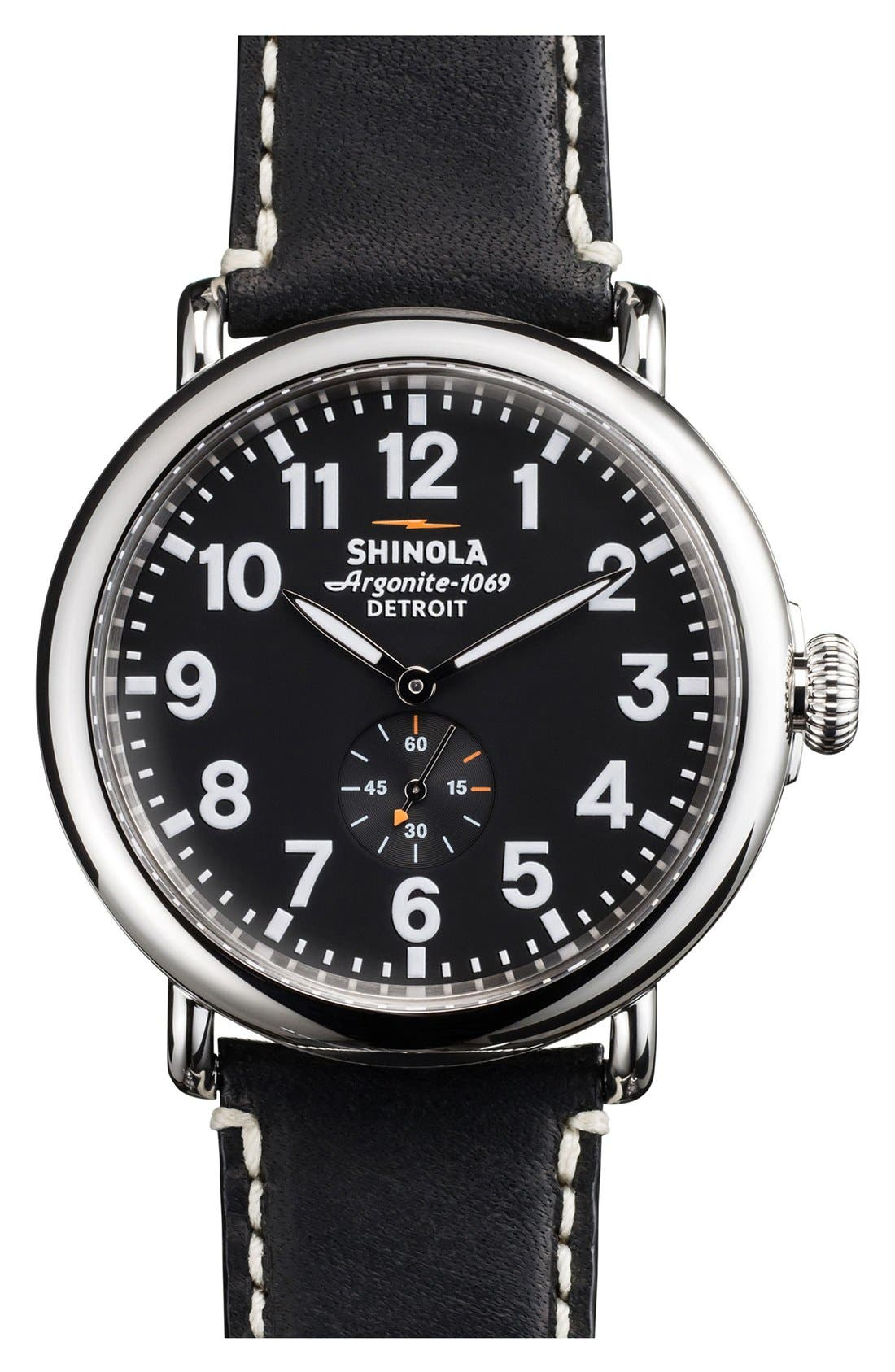 'The Runwell' Leather Strap Watch, 47mm,                         Main,                         color, Black