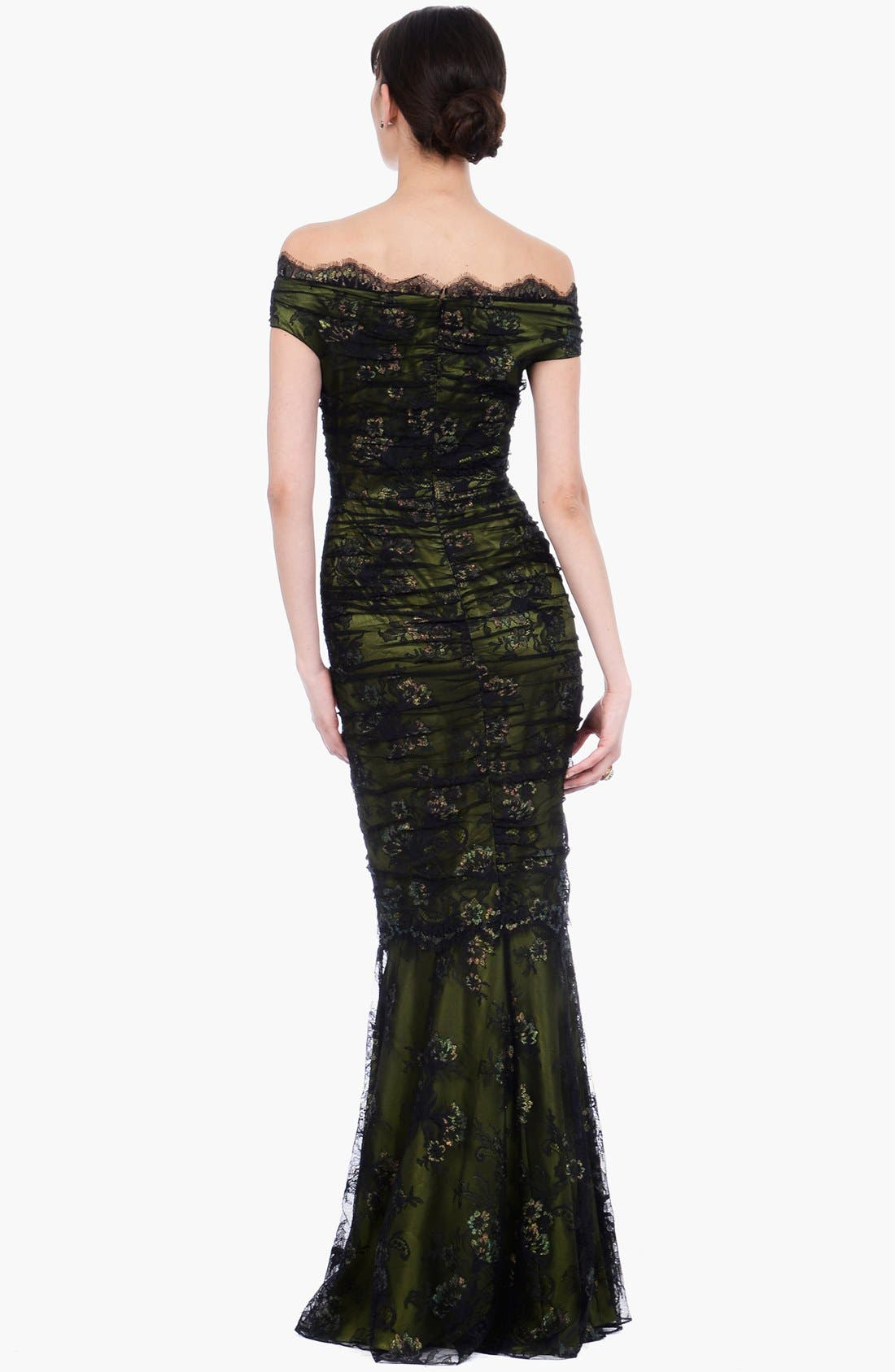 Alternate Image 2  - Kay Unger Ruched Lace Off Shoulder Mermaid Gown