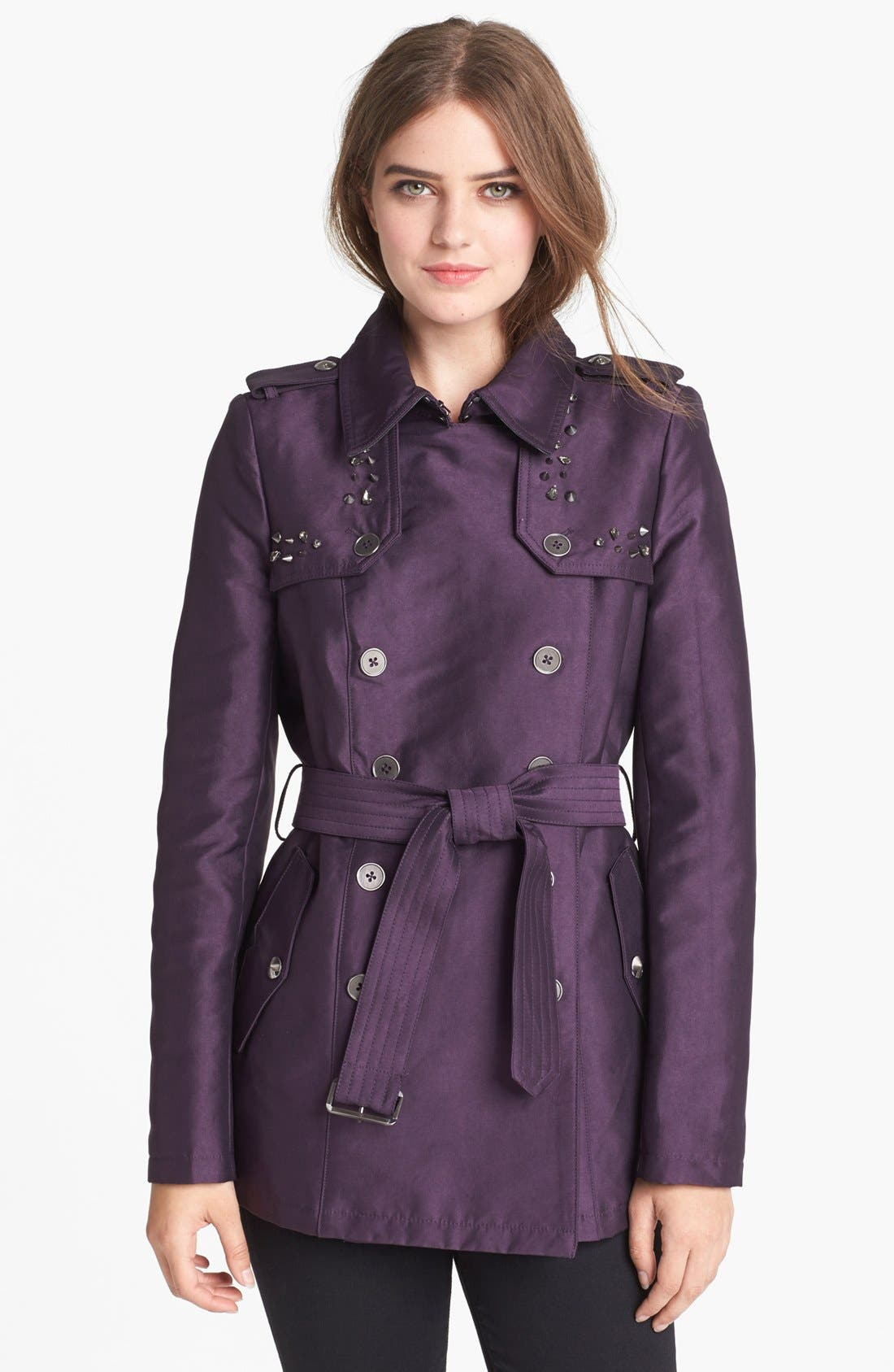 Alternate Image 1 Selected - Sam Edelman Studded Double Breasted Trench Coat (Online Only)