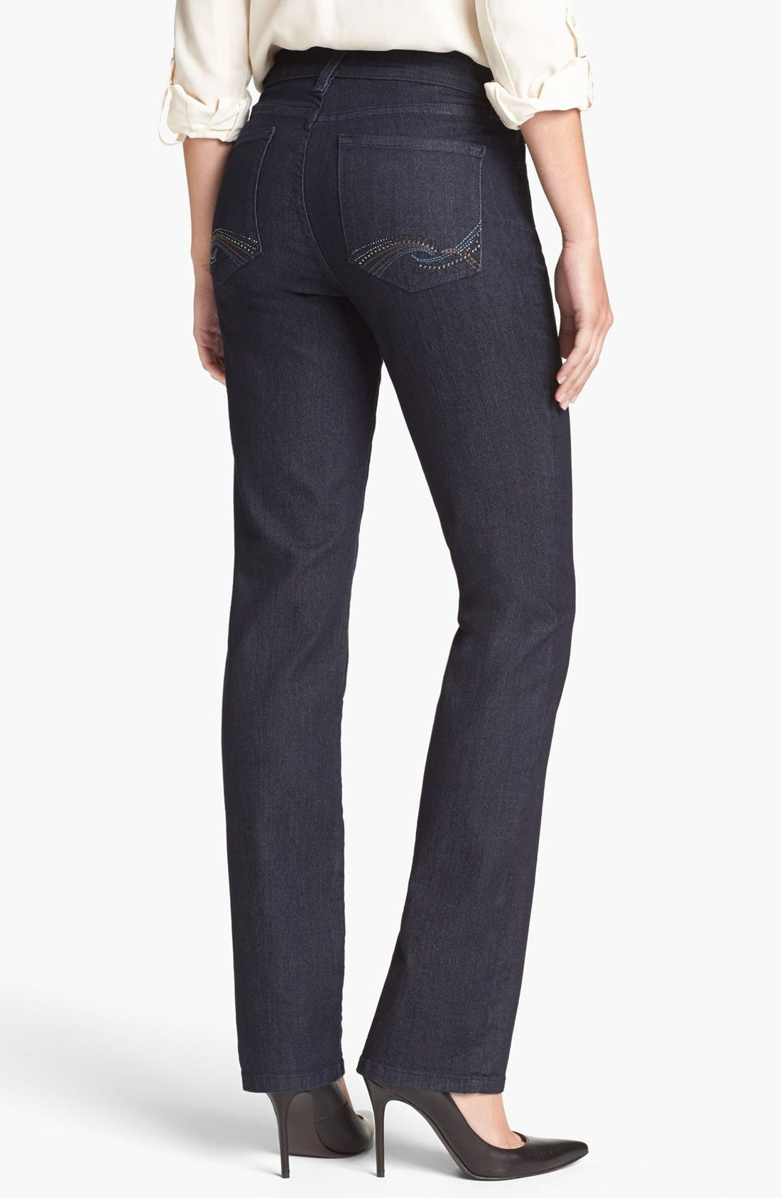 Alternate Image 2  - NYDJ 'Marilyn' Embellished Pocket Straight Leg Jeans