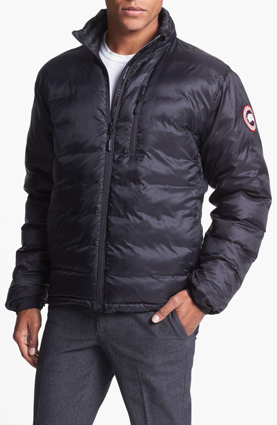'Lodge' Slim Fit Packable Windproof 750 Down Fill Jacket,                         Main,                         color, Black