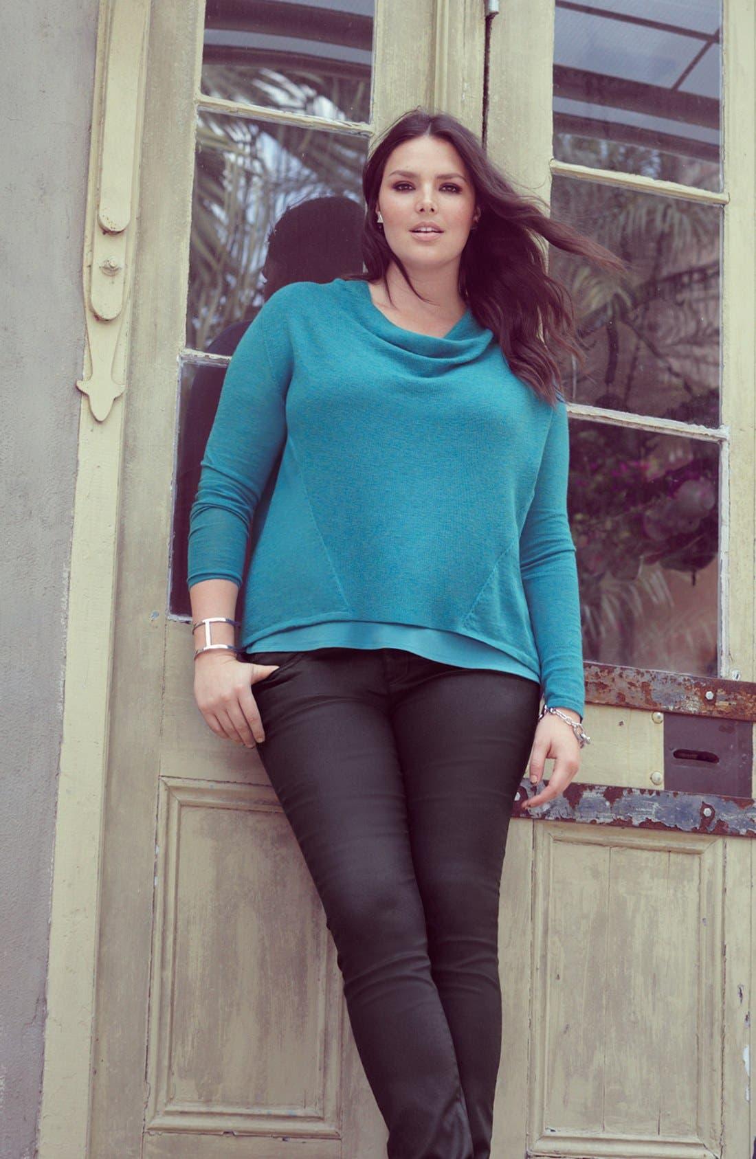 Alternate Image 4  - Eileen Fisher Draped Wool Top (Plus Size)