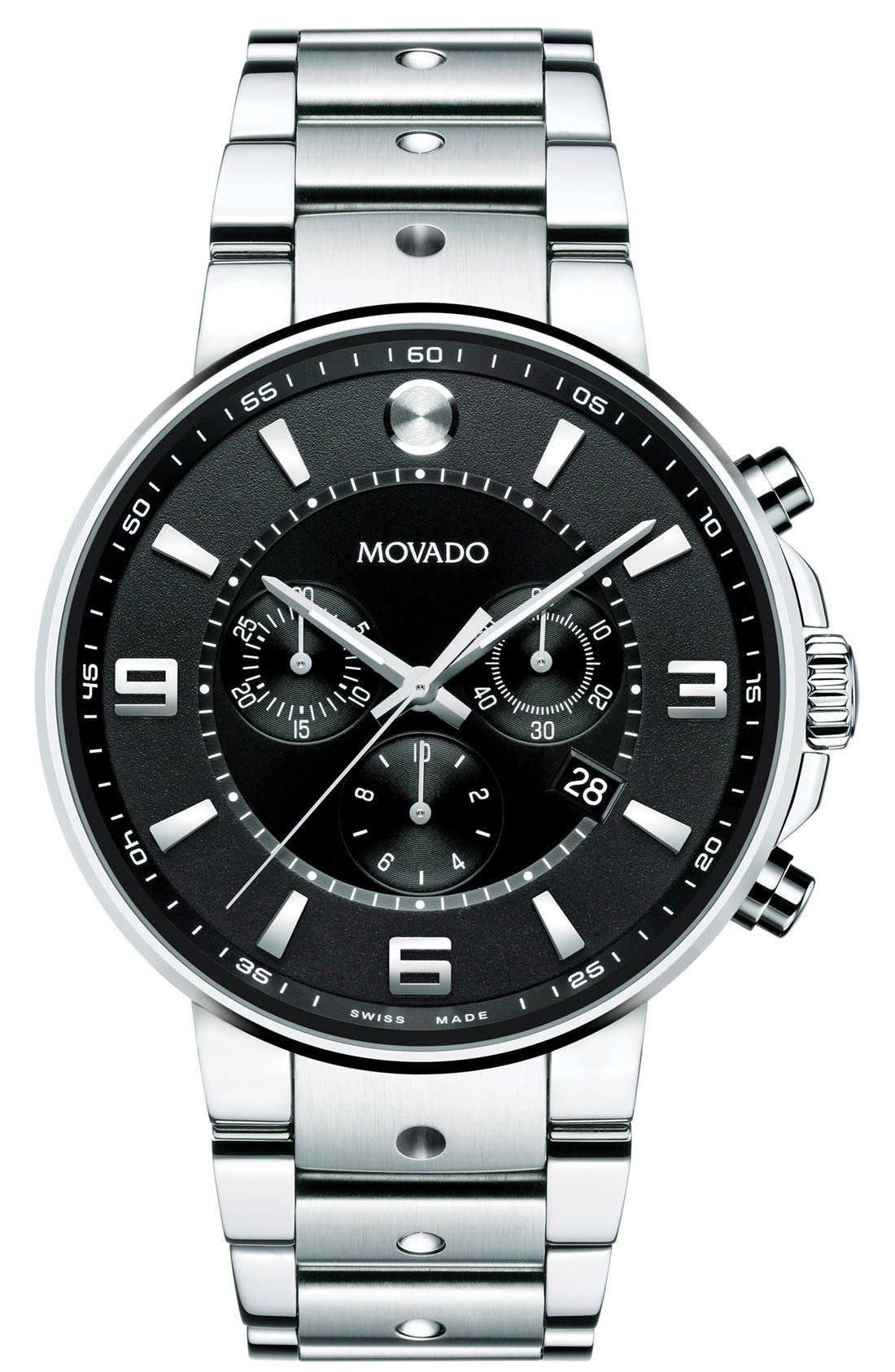 Main Image - Movado 'S.E. Pilot' Chronograph Bracelet Watch, 42mm