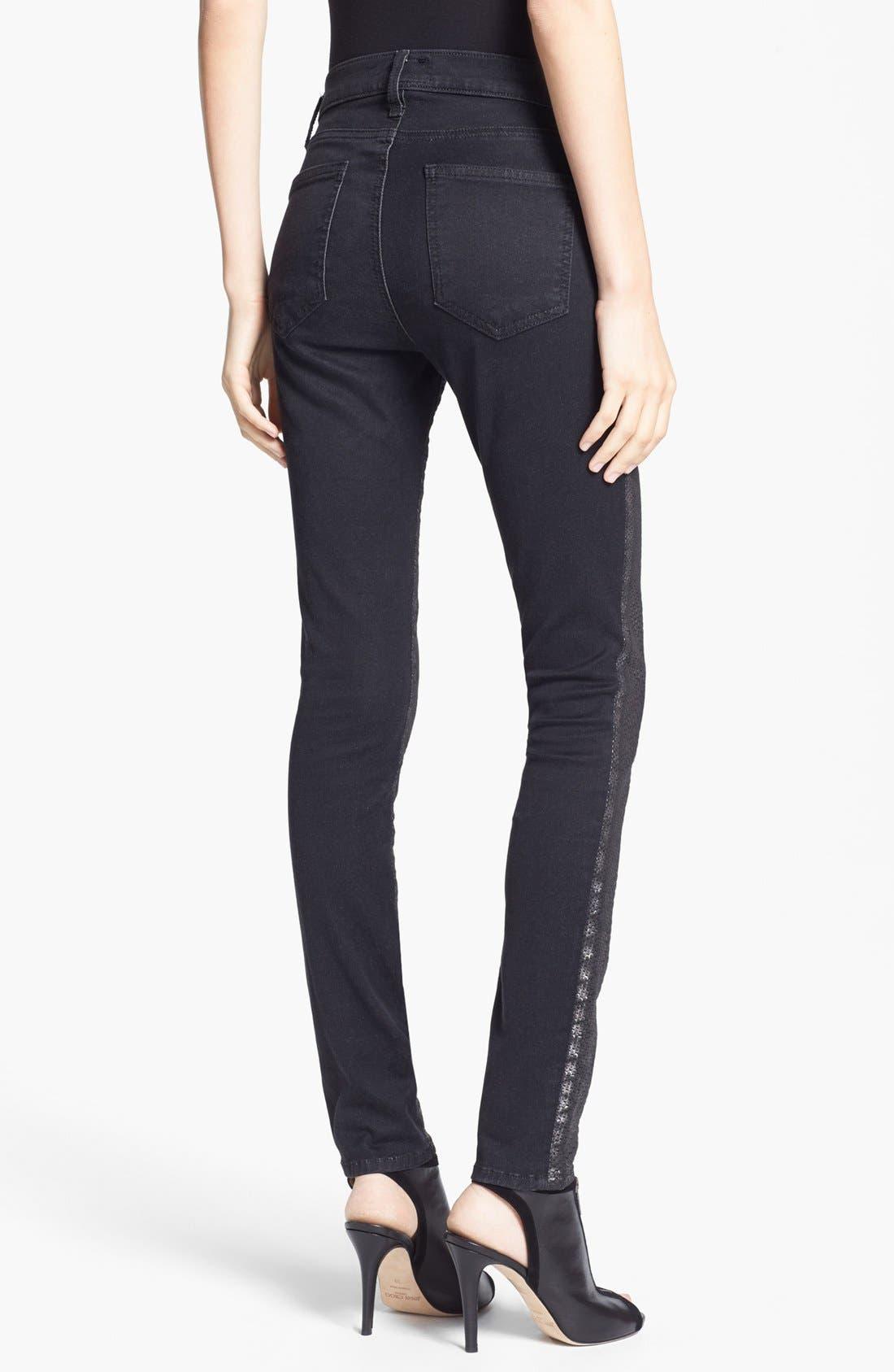 Alternate Image 2  - Current/Elliott 'The Ankle Skinny' Coated Animal Print Jeans