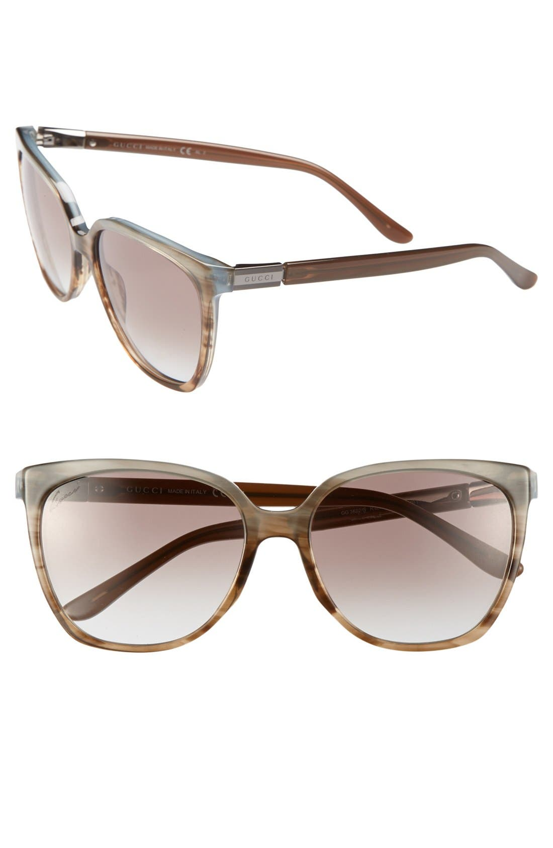 57mm Oversized Sunglasses,                         Main,                         color, Brown Azure